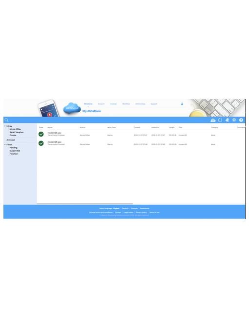 SpeechLive Browser View